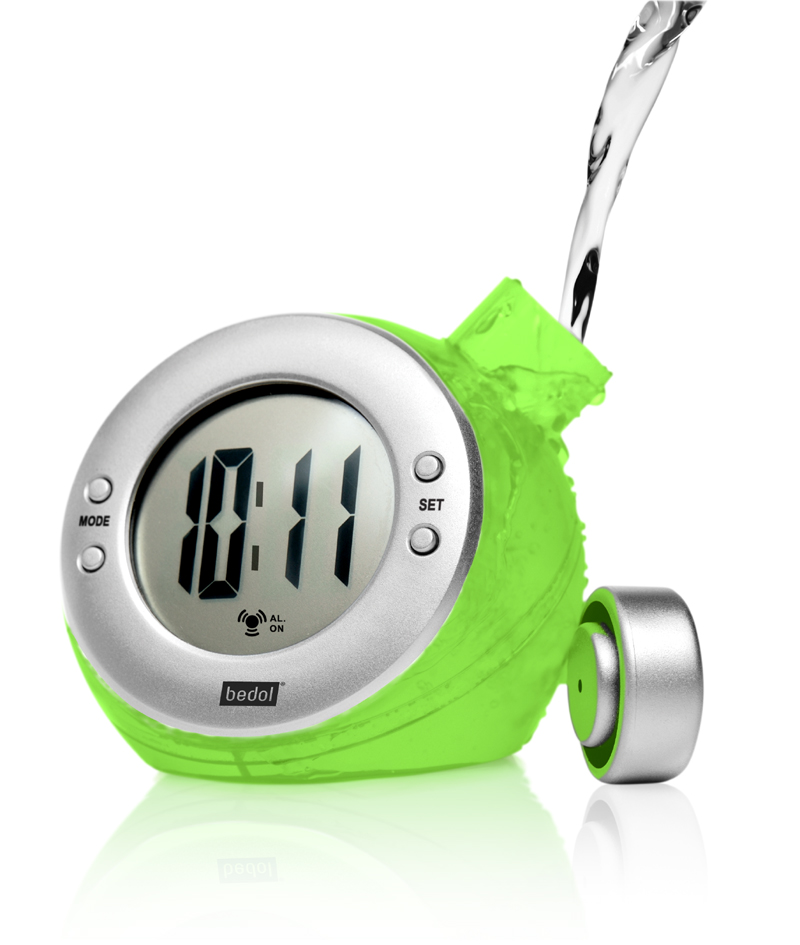 Eco-Friendly Water-Powered Alarm Clock Green